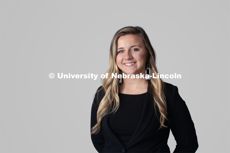 Studio portrait of Jaimee Silver, Event Assistant, Office of Admissions. October 10, 2019. Photo by Greg Nathan / University Communication.