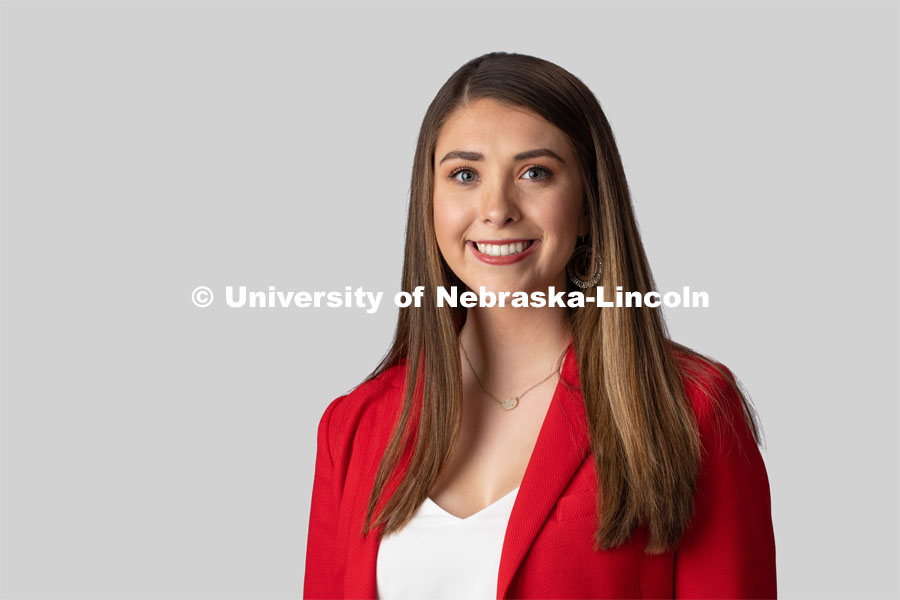 Studio portrait of Payton Flower, NSE Orientation Leader. January 23, 2020. Photo by Greg Nathan, University Communication.