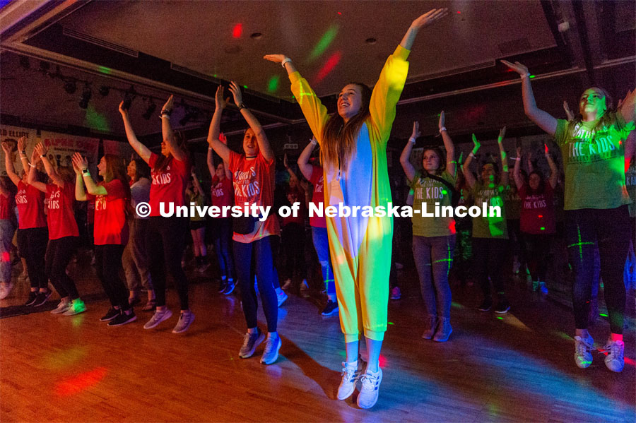 "Students doing morale dance for the dance marathon. University of Nebraska–Lincoln students exceeded their goal, raising $235,229 during the annual HuskerThon on Feb. 29. Also known as Dance Marathon, the event is part of a nationwide fundraiser supporting Children's Miracle Network Hospitals. The annual event, which launched in 2006, is the largest student philanthropic event on campus. The mission of the event encourages participants to, ""dance for those who can't."" All funds collected by the Huskers benefit the Children's Hospital and Medical Center in Omaha. February 29, 2020. Photo by Justin Mohling / University Communication."