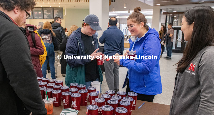 Students, Faculty and Staff enjoy the new sights from the renovation at the East Campus Union Open House. March 9, 2020. Photo by Gregory Nathan / University Communication.