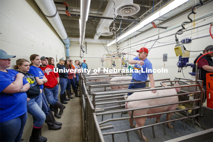Benny Mote, assistant professor in Animal Science, lectures on artificial insemination to students in ASCI 150 - Animal Production Skills. March 12, 2020. Photo by Craig Chandler / University Communication.