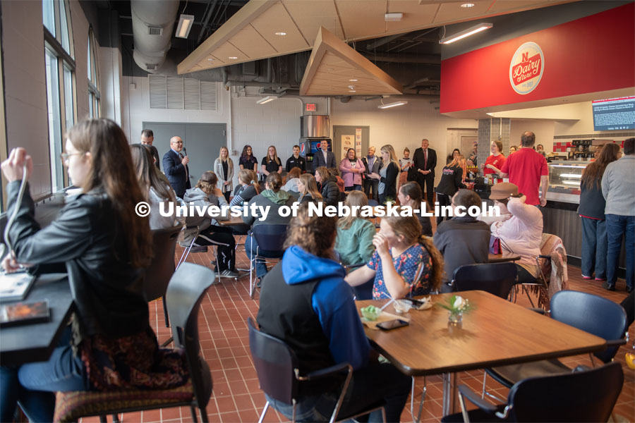 IANR Vice Chancellor, Michael Boehm, addresses the crowd at the ice cream social. CASNR Week Ice Cream Social, UNL Dairy Store Relocation Celebration. March 12, 2020. Photo by Gregory Nathan / University Communication.