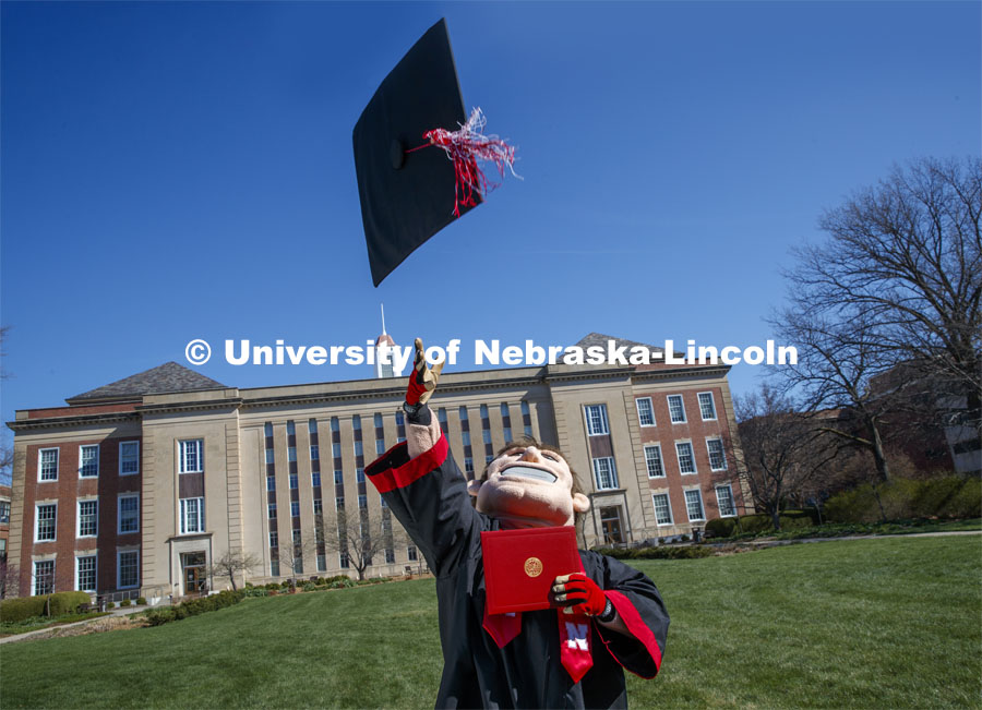 Herbie Husker removes his mortarboard and tosses it in the air in front of Love Library and is decked out in graduation attire for the Spring Commencement that was which streamed online and aired on NET because of the COVID-19 pandemic. April 10, 2020. Photo by Craig Chandler / University Communication.
