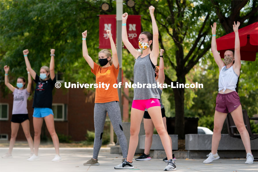 Students dance during Wellness Fest at Meier Commons on Saturday, Aug. 22, 2020, in Lincoln, Nebraska.  Photo by Jordan Opp for University Communication