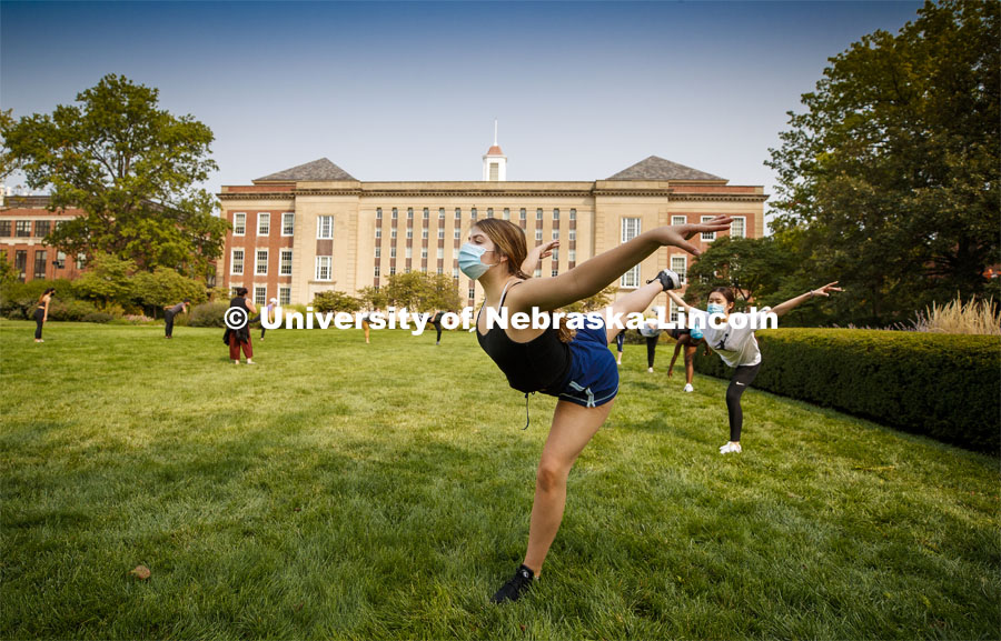 Sarah Mathis, a freshman from Lincoln, dances in Susan L Ourada's Modern Dance I class outside Love Library. September 17, 2020. Photo by Craig Chandler / University Communication
