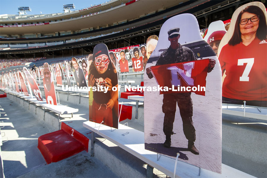 More than 6,000 corrugated plastic cutouts fill the lower level of east stadium, the tunnel walk, and part of north stadium to remind the Huskers who has the Greatest Fans in College Football. Nebraska is believed to lead the nation in the number of fan cutouts appearing in a stadium in this season impacted by the global pandemic. November 12, 2020. Photo by Craig Chandler / University Communication.