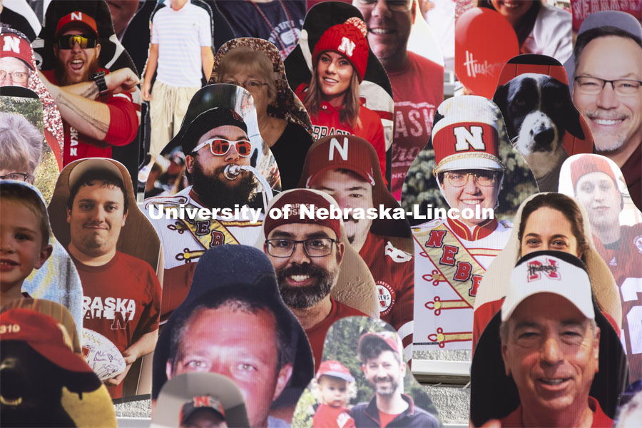 More than 6,000 corrugated plastic cutouts fill the lower level of east stadium, the tunnel walk, and part of north stadium to remind the Huskers who has the Greatest Fans in College Football. November 12, 2020. Photo by Craig Chandler / University Communication.