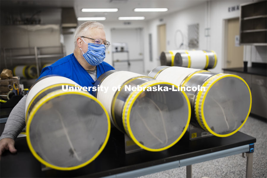 Robert Schmaltz, manager of the Gnotobiotic Mouse Facility, uses an autoclave to sterilize supply cylinders containing food and bedding for the mice. Photos of the new Gnotobiotic Mouse Facility - Nebraska Food for Health Center. November 19, 2020. Photo by Craig Chandler / University Communication.