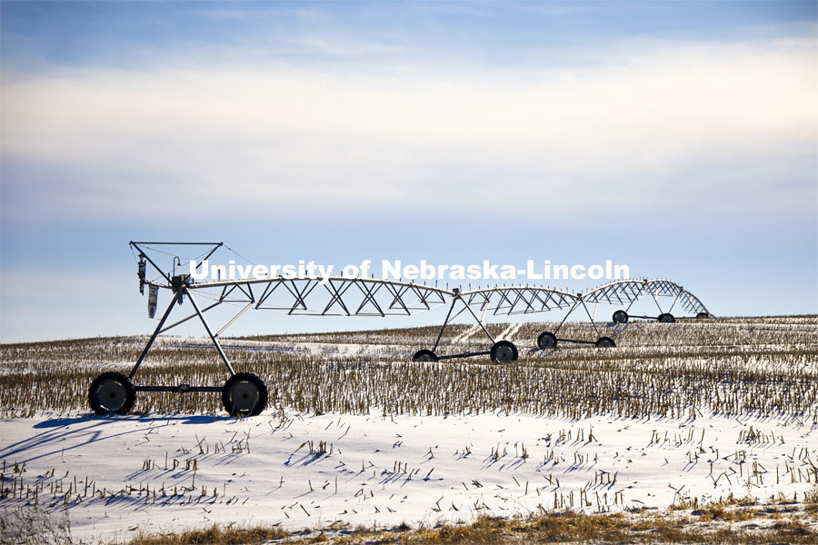 Snowy center pivot amidst the corn stubble in Lancaster County. January 2, 2021. Photo by Craig Chandler / University Communication.