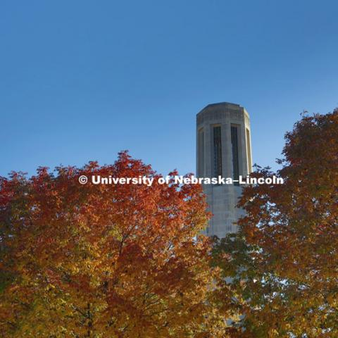 Mueller bell tower. Fall city campus. October 14, 2015. Photo by Craig Chandler / University Communications