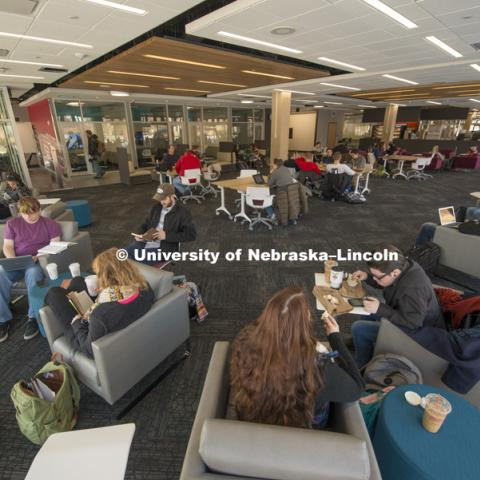 Adele Coryell Hall Learning Commons in the Love Library, January 11, 2016. Photo by Greg Nathan, University Communications Photographer.
