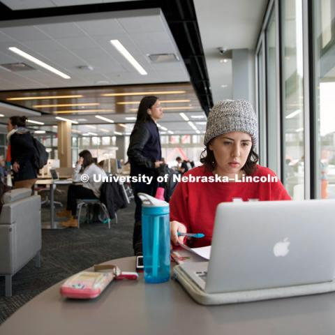 Eleanor Avery, a freshman supply chain management major, studies in Love Library's new Adele Coryell Hall Learning Commons on its Jan. 11 opening day. The space offers a variety of study and collaboration options to UNL students and is open 24 hours every