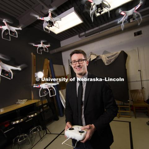Matt Waite, a professor of practice in journalism and mass communications, has earned the IDEA honor from the University of Nebraska. Waite is founder of UNL's Drone Journalism Lab. March 16, 2016, photo by Craig Chandler, University Communications.