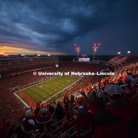 Fireworks punctuate the Huskers second touchdown of the night in the second quarter. Nebraska vs. Fresno State. September 3, 2016. Photo by Craig Chandler / University Communication Photography.
