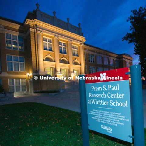 The new sign now sits out front of the newly dedicated Prem S. Paul Research Center at Whittier School. October 28, 2016. Photo by Greg Nathan, University Communication Photography.