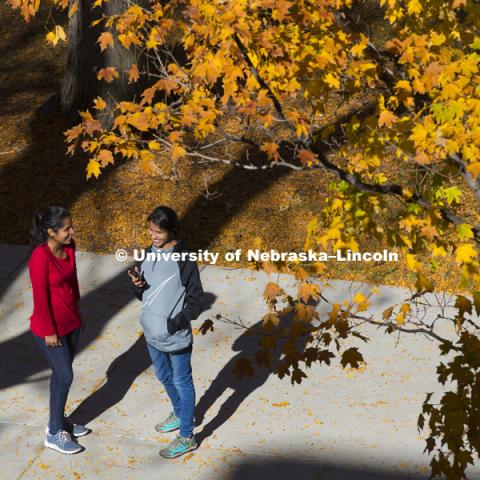 Manny Saluja and Jaspreet Sandhu, both graduate students in agronomy, talk on the sidewalk outside the east campus union Thursday. Fall photos on East Campus. November 3, 2016. Photo by Craig Chandler / University Communication Photography.