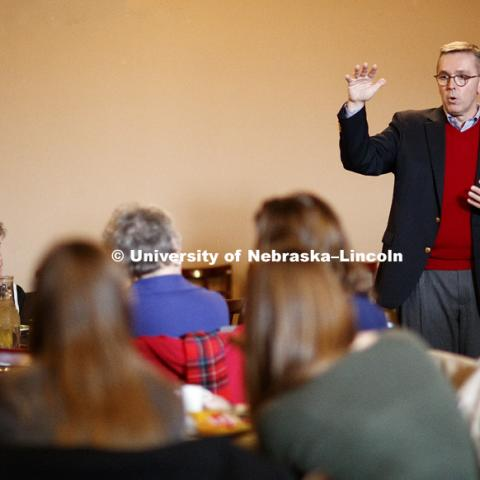 Chancellor Ronnie Green, Executive Vice Chancellor Donde Plowman and Mike Boehm, Harlan Vice Chancellor of the Institute of Agriculture and Natural Resources at Nebraska, meet with stakeholders in Fremont, NE during the lunch hour Monday. The three are on