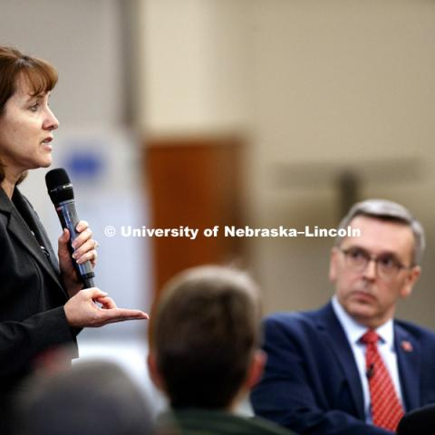 Amy Goodburn, Associate Vice Chancellor, Office of the Executive Vice Chancellor and Chief Academic Officer gives a presentation from a Strategic Goals group at Chancellor Ronnie Green's Town Hall meeting at Nebraska Innovation Campus. January 26, 2017.