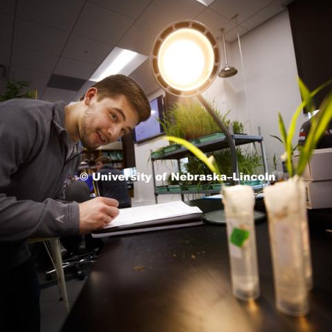 "Jonathan Vidlak eyes his plants during a group experiment to measure photosynthesis. Students in LIFE 121L - Fundamentals of Biology 2 Laboratory, taught by Altangerel ""Auggie"" Tsogtsaikhan, graduate student in biological sciences, in Brace Lab. March 15,"