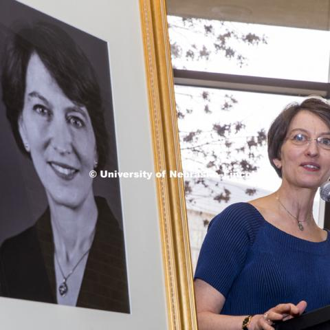 Former Law Dean Susan Poser speaks at the unveiling of her portrait to hang in the hall of deans at the college. Opening of new Marvin and Virginia Schmid Law Clinic and unveiling of former Dean Susan Poser portrait. March 31, 2017. Photo by Craig