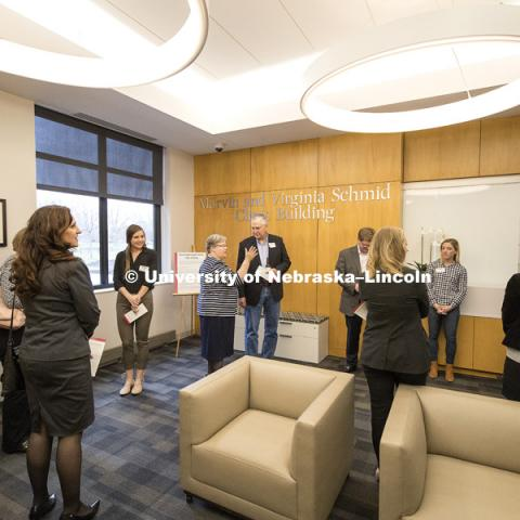 Tours at the opening of new Marvin and Virginia Schmid Law Clinic and unveiling of former Dean Susan Poser portrait. March 31, 2017. Photo by Craig Chandler / University Communication.