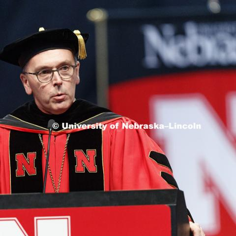 Chancellor Ronnie Green addresses the commencement. Students earning graduate and professional degrees received their diplomas Friday afternoon in Lincoln's Pinnacle Bank Arena. Undergraduate commencement is Saturday morning in the Arena. More than 3,000