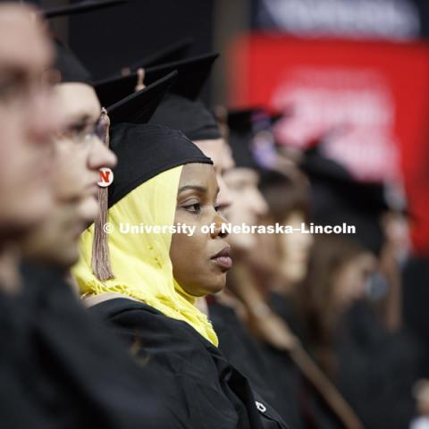 Students earning graduate and professional degrees received their diplomas Friday afternoon in Lincoln's Pinnacle Bank Arena. Undergraduate commencement is Saturday morning in the Arena. More than 3,000 degrees will be awarded May 5 and 6. May 5, 2017.