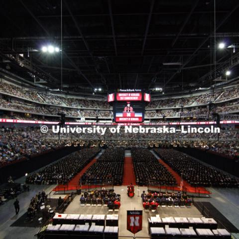 Chancellor Ronnie Green opens the spring commencement in a packed Pinnacle Bank Arena. Students received their undergraduate diplomas Saturday morning in Lincoln's Pinnacle Bank Arena. 2452 degrees were awarded Saturday morning. May 6, 2017. Photo by
