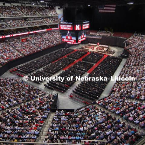 Pinnacle Bank Arena was filled with students, family and friends Saturday. Students received their undergraduate diplomas Saturday morning in Lincoln's Pinnacle Bank Arena. 2452 degrees were awarded Saturday morning. May 6, 2017. Photo by Craig Chandler /