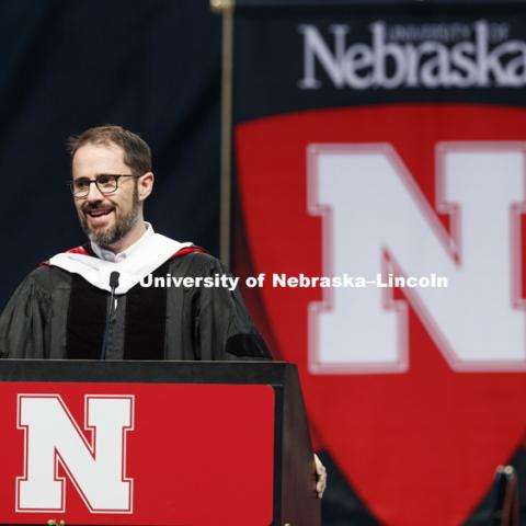 "Evan Williams, Nebraska native and founder of Twitter, delivers his commencement address. Williams received an honorary degree before he delivered the Commencement Address ""Farm Kid Swipes Fire"". Students received their undergraduate diplomas Saturday"