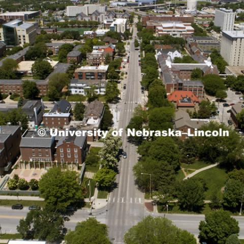 16th Street on campus into downtown will become two-way this summer. May 30, 2017. Photo by Craig Chandler / University Communication