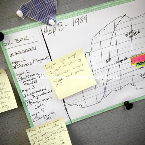 Pin boards are used to graphically show progress of each person's project.  Others are encouraged to collaborate and leave notes for improvement. Digital Scholarship Incubator. August 1, 2017. Photo by Craig Chandler / University Communication.