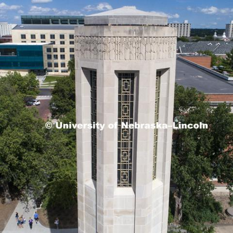 High angle view of the Mueller Bell Tower and the east part of UNL City Campus. August 3, 2017. Photo by Craig Chandler / University Communication.