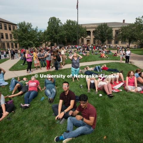 East campus students, faculty and staff at the University of Nebraska-Lincoln view the total solar eclipse phenomenon together, August 21, 2017. Photo by Greg Nathan, University Communication Photography.