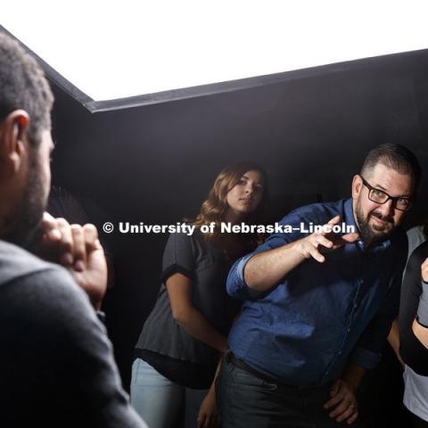 Walker Pickering, Assistant Professor of Photography in Fine and Performing Arts, works with his PHOT 263 - Studio Photography class. September 6, 2017. Photo by Craig Chandler / University Communication.