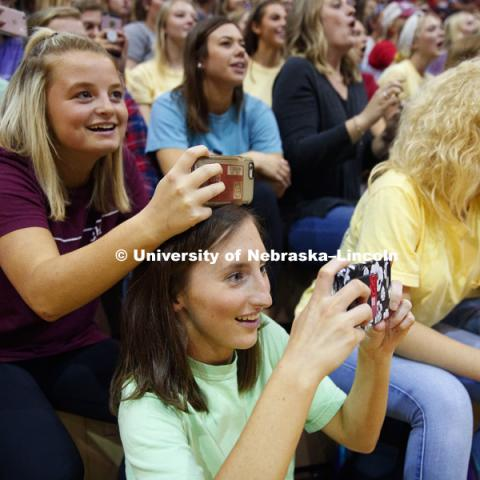 Chi Omega sorority members photograph their group at Huskers Have Talent competition at the Coliseum. September 18, 2017. Photo by Craig Chandler / University Communication.