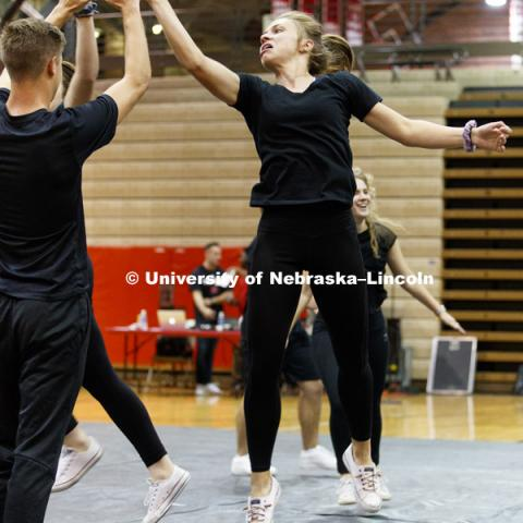 Alpha Omicron Pi, Delta Delta Delta, Theta Xi and AGS perform at Huskers Have Talent competition at the Coliseum. September 18, 2017. Photo by Craig Chandler / University Communication.