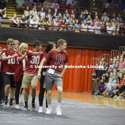 Phi Kappa, Chi Phi, and Kappa Delta perform at Huskers Have Talent competition at the Coliseum. Homecoming 2017. September 18, 2017. James Wooldridge for University Communication.