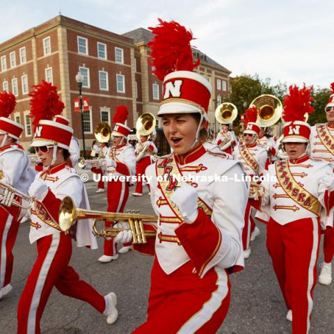 Cornhusker Marching Band. Homecoming parade, pep rally and court jester competition. September 22, 2017. Photo by Craig Chandler / University Communication.