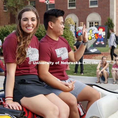 Homecoming parade, pep rally and court jester competition. September 22, 2017. Photo by Craig Chandler / University Communication.