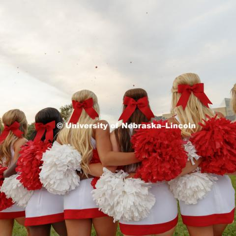Nebraska Cheer Squad performs at the pep rally. September 22, 2017. Photo by Craig Chandler / University Communication.