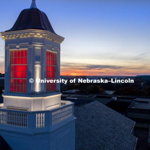 Love Library cupola at sunset. November 15, 2017. Photo by Craig Chandler / University Communication.