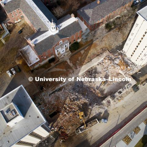 The rubble of Cather Pound dining center is being removed. The two residence halls will be imploded on December 22, 2017. November 30, 2017. Photo by Craig Chandler / University Communication.