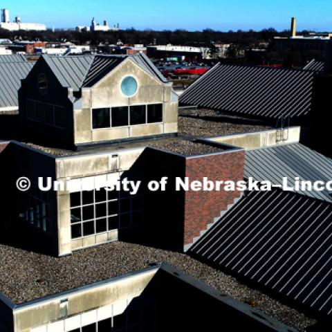 Aerial view of the rooftops of Beadle Hall. December 7, 2017. Photo by Craig Chandler / University Communication.