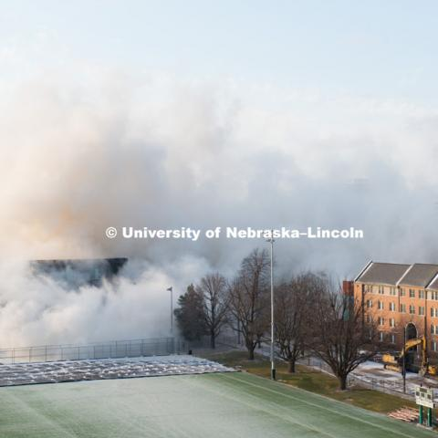 Cather and Pound Residence Halls implosion. December 22, 2017. Photo by Greg Nathan, University Communication Photography.
