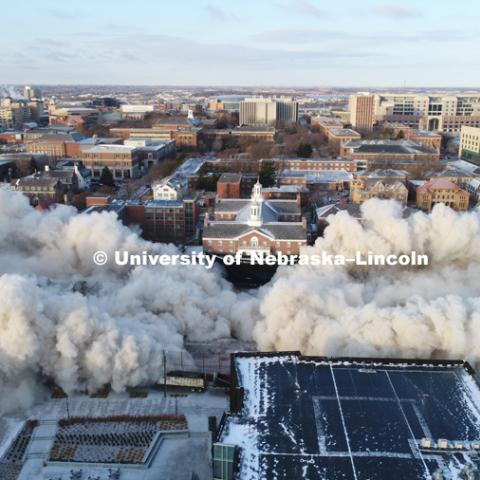 Cather and Pound Residence Halls implosion. December 22, 2017. Photo by Craig Chandler / University Communication.