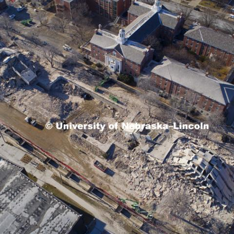 The remains of the Cather Pound Residence Halls implosion. December 22, 2017. Photo by Craig Chandler / University Communication.