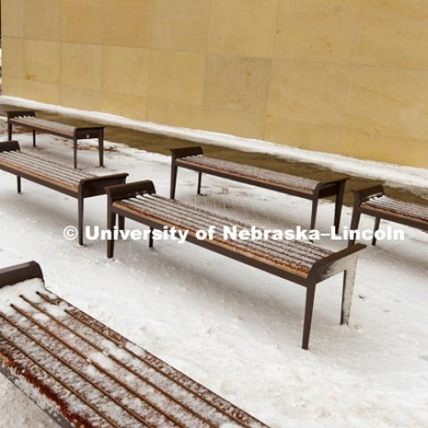 Snowy day, benches in front of the College of Business. January 23, 2018. Photo by Craig Chandler / University Communication.