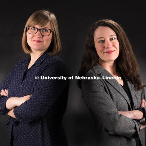 Studio portrait of Emily Kazyak and Kelsy Burke, The Dispute. February 9, 2018. Photo by Greg Nathan, University Communication Photography.