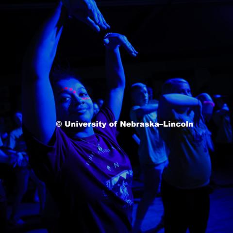 Mashaya Dierking of Phi Mu dances in the cardio dance part of the marathon Saturday evening. 1274 Nebraska students signed up to be part of the Huskerthon Dance Marathon for Children's Hospital in Omaha. February 17, 2019. Photo by Craig Chandler /